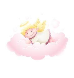 Angel cupid baby sleeping vector