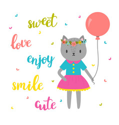 Sweet card for little princess funny postcard for vector