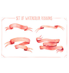 set of watercolor ribbons vector image