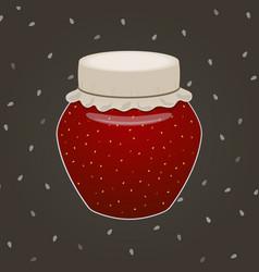 Jar of strawberry jam vector