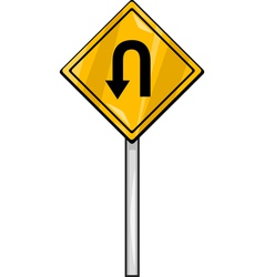 U turn sign clip art cartoon vector