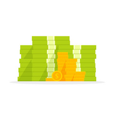 big pile of money heap of cash flat cartoon style vector image