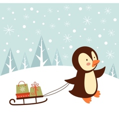 Penguin with gifts vector image