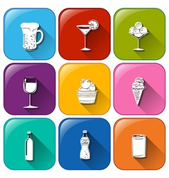 Buttons with refreshing drinks vector