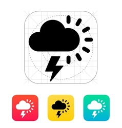 Lightning with sun weather icon vector