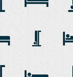 Hotel icon sign seamless pattern with geometric vector