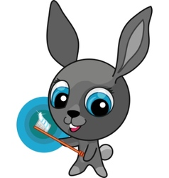 Funny cartoon bunny with toothbrush vector