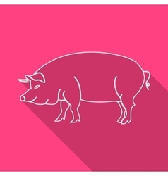 Icon contour pork flat style long shadows vector