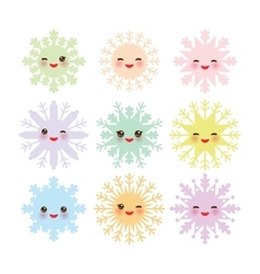 Kawaii snowflake set blue mint orange pink lilac vector