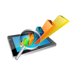 tablet and graph vector image