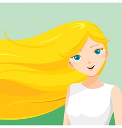 Young woman with long blonde hair vector