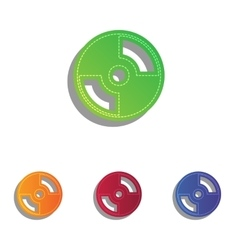 Cd or dvd sign colorfull applique icons vector