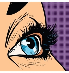 Close-up blue woman eye looks to right vector