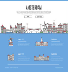 amsterdam city travel vacation guide vector image