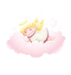 Angel cupid baby sleeping vector