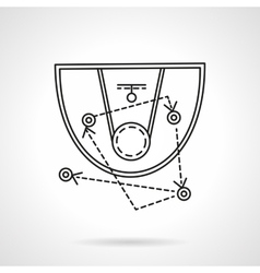 Basketball tactic flat line icon vector