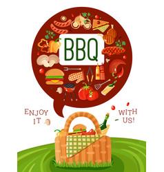 Bbq picnic flat invitation poster vector