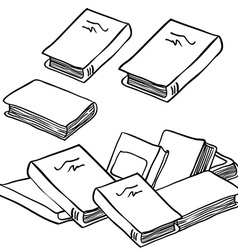 Black and white stack of books vector