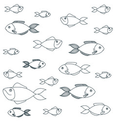 Blue dark silhouette of different species fish vector