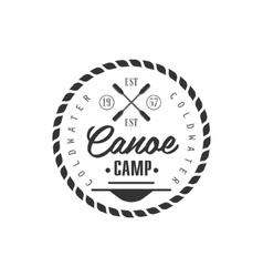 Canoe camp emblem design vector