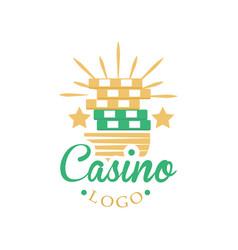 casino and card poker logo vintage gambling badge vector image