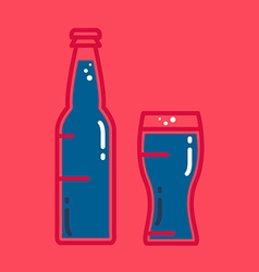 Cocktail cold beer or juice bottle with glass vector image