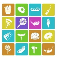 Colorful fast food icon set vector