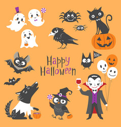 cute halloween set vector image