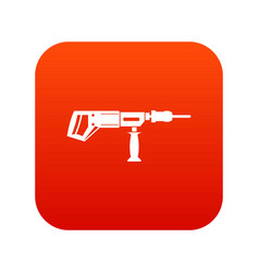 Electric drill perforator icon digital red vector