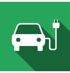 Electric powered car symbol icon with long shadow vector