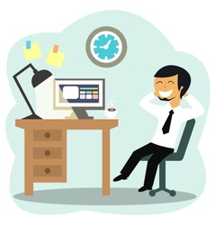 Happy office worker vector image vector image