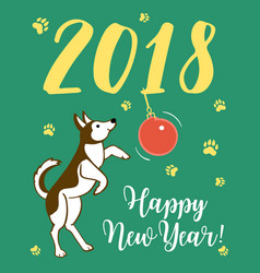 happy small dog dog is symbol of 2018 year on vector image