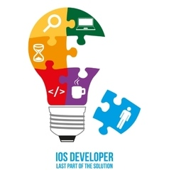 IOS developer search puzzle design concept vector image