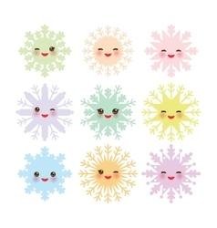 Kawaii snowflake set blue mint orange pink lilac vector image vector image