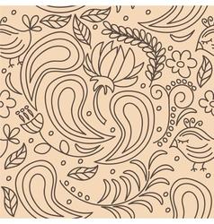 Leavesflowersbirds background seamless pattern vector image