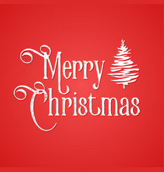 merry christmas inscription red background and vector image vector image