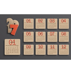 Modern calendar 2017 in a paper official style vector image