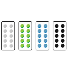 Plate with pills green blue grey black colour vector