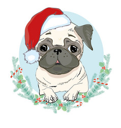 Portrait of cute french bulldog in red christmas vector