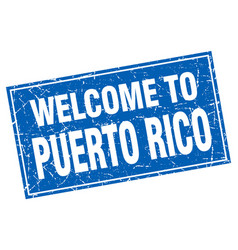 Puerto rico blue square grunge welcome to stamp vector