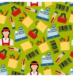 Seamless background of grocery shopping pattern vector image