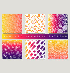 set of colorful seamless pattern with brush vector image vector image