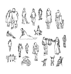 Set of doodle lined people trace collection vector