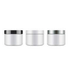 set of round white plastic jar with lid for vector image