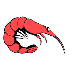 shrimp icon cartoon vector image vector image