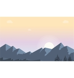 Silhouette of mountain at morning landscape vector image