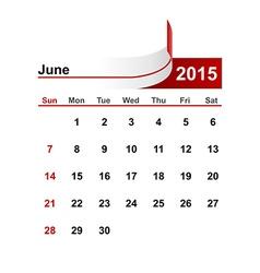Simple calendar 2015 year june month vector