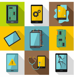 smartphones service icon set flat style vector image