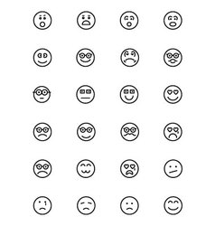 Smiley line icons 3 vector