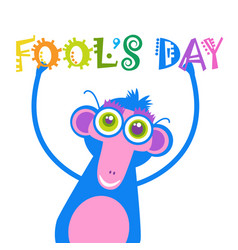 Smiling monkey first april fool day happy holiday vector